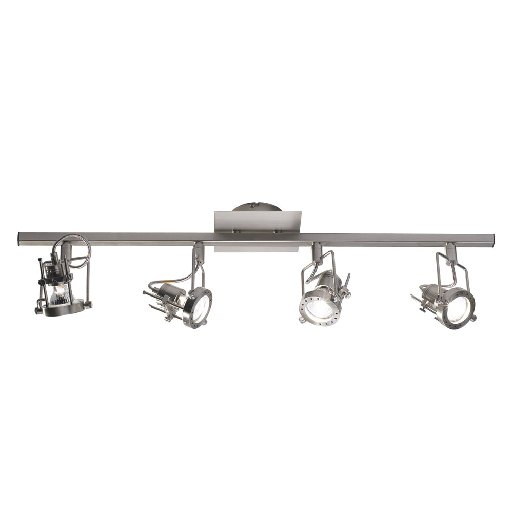 där Lighting BAU8446 Bauhaus 4 Light Satin Chrome LED Bar Spotlight