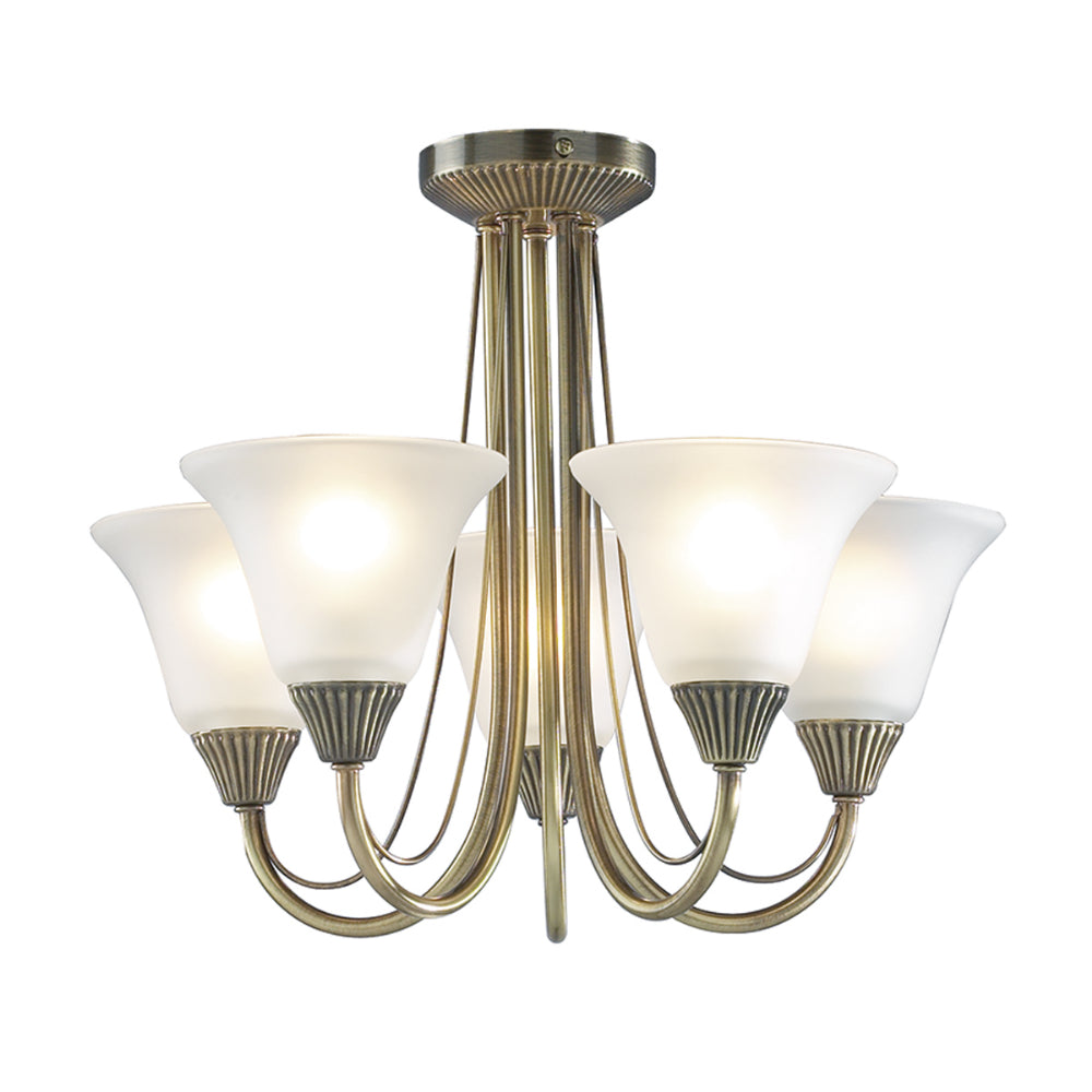 där Lighting BOS05 Boston 5 Light Antique Brass Semi-Flush Ceiling Light