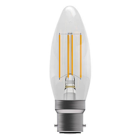 B22 5W LED Filament Candle Bulb Clear 2700k Warm White Dimmable
