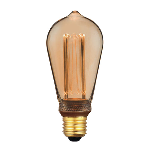 där Lighting BUL-E27-LEDV-9 Rustic Vintage Micro Filament LED 3.5w 120 Lumens Dimmable Gold (Pack Of 5)