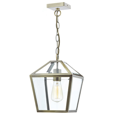 där Lighting CHU0175 Churchill Single Light Antique Brass Pendant Ceiling Light