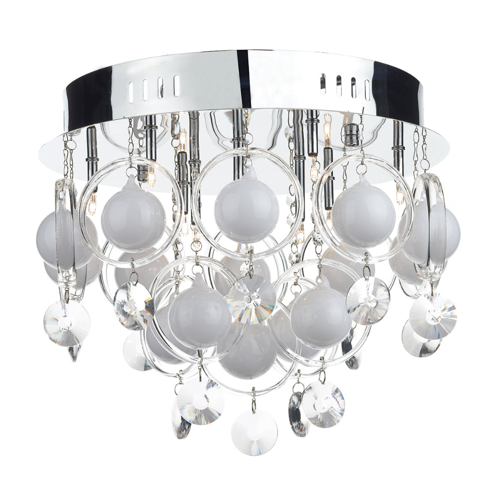 där Lighting CLO1350 Cloud 9 Light Polished Chrome Flush Ceiling Light