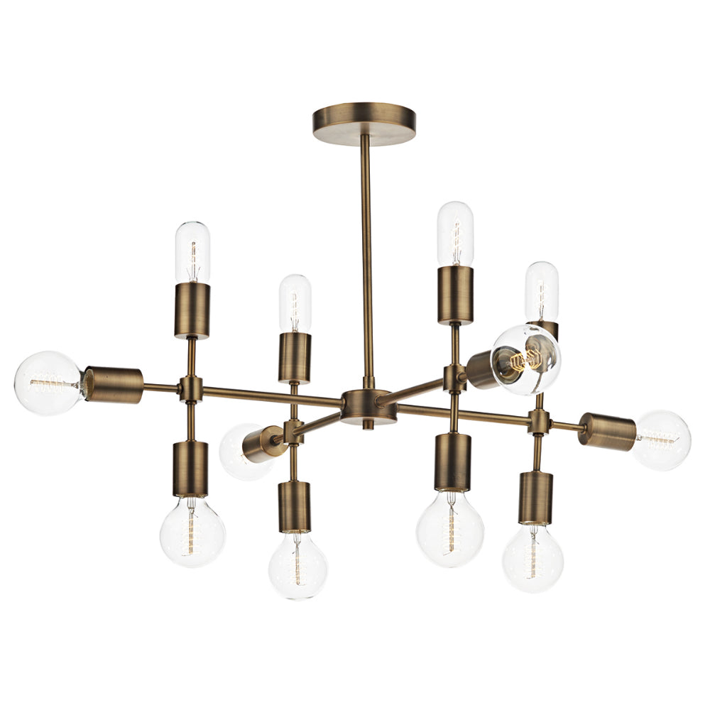 där Lighting COD1235 Code 12 Light Old Gold Pendant Ceiling Light