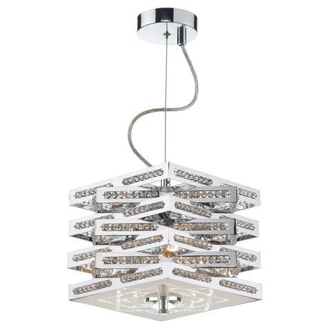 där Lighting CUB0350 Cube 3 Light Polished Chrome Dual Mount Pendant Ceiling Light