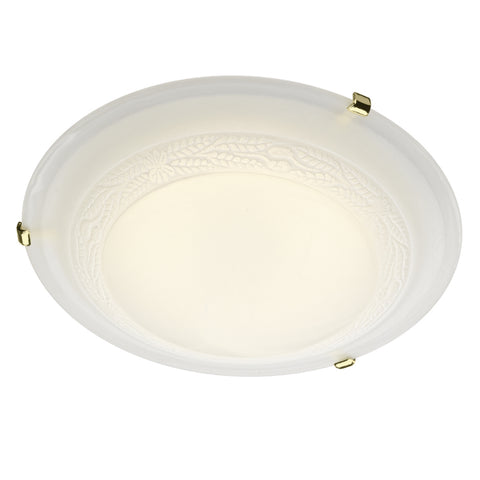 där Lighting DAM502 Damask 2 Light Brass Flush Ceiling Light