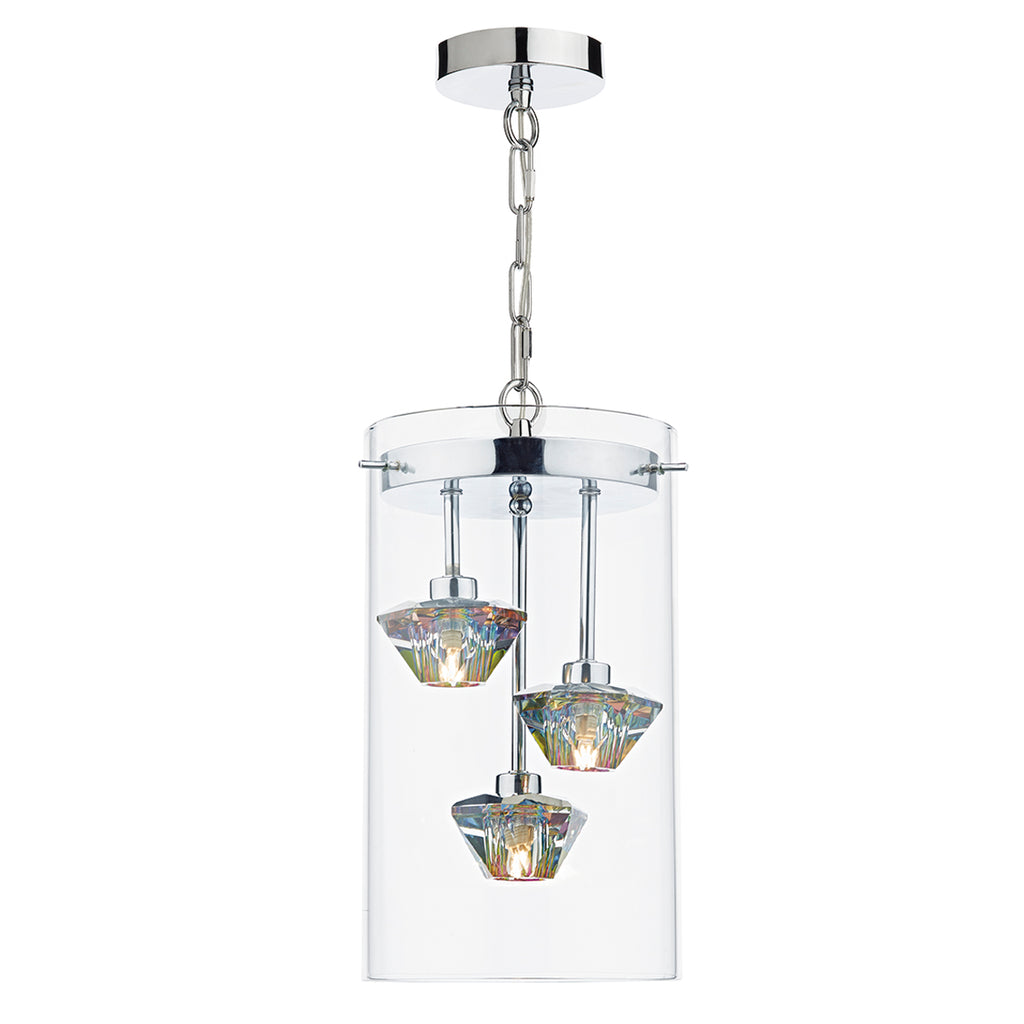 där Lighting DEC5308 Decade 3 Light Polished Chrome Pendant Ceiling Light