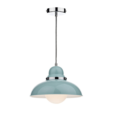 där Lighting DYN0123 Dynamo Single Light Gloss Blue Pendant Ceiling Light