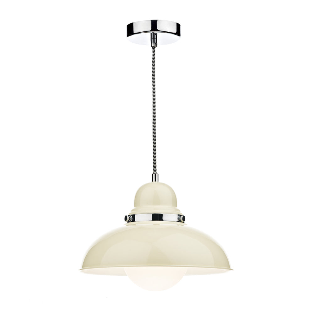 där Lighting DYN0133 Dynamo Single Light Gloss Cream Pendant Ceiling Light