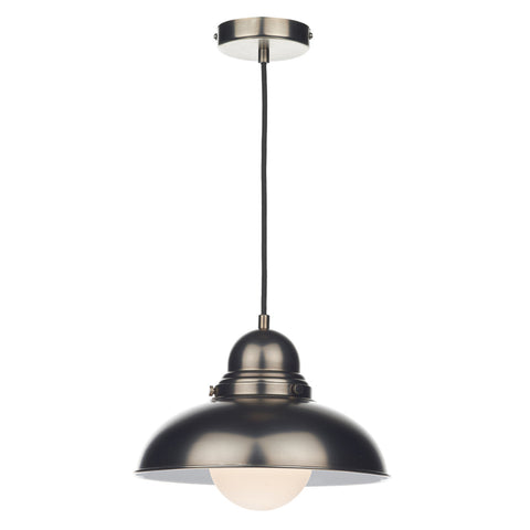 där Lighting DYN0161 Dynamo Single Light Antique Chrome Pendant Ceiling Light