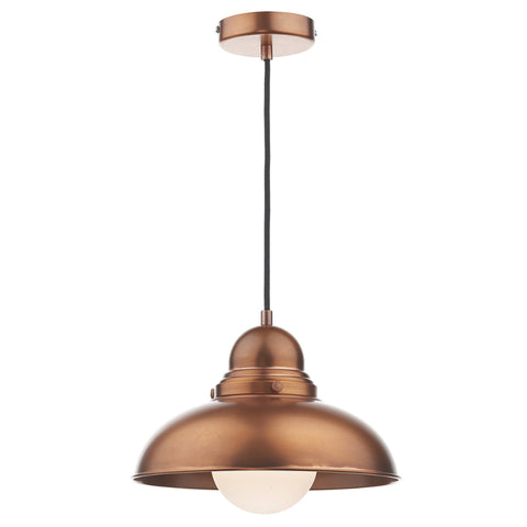 där Lighting DYN0164 Dynamo Single Light Antique Copper Pendant Ceiling Light