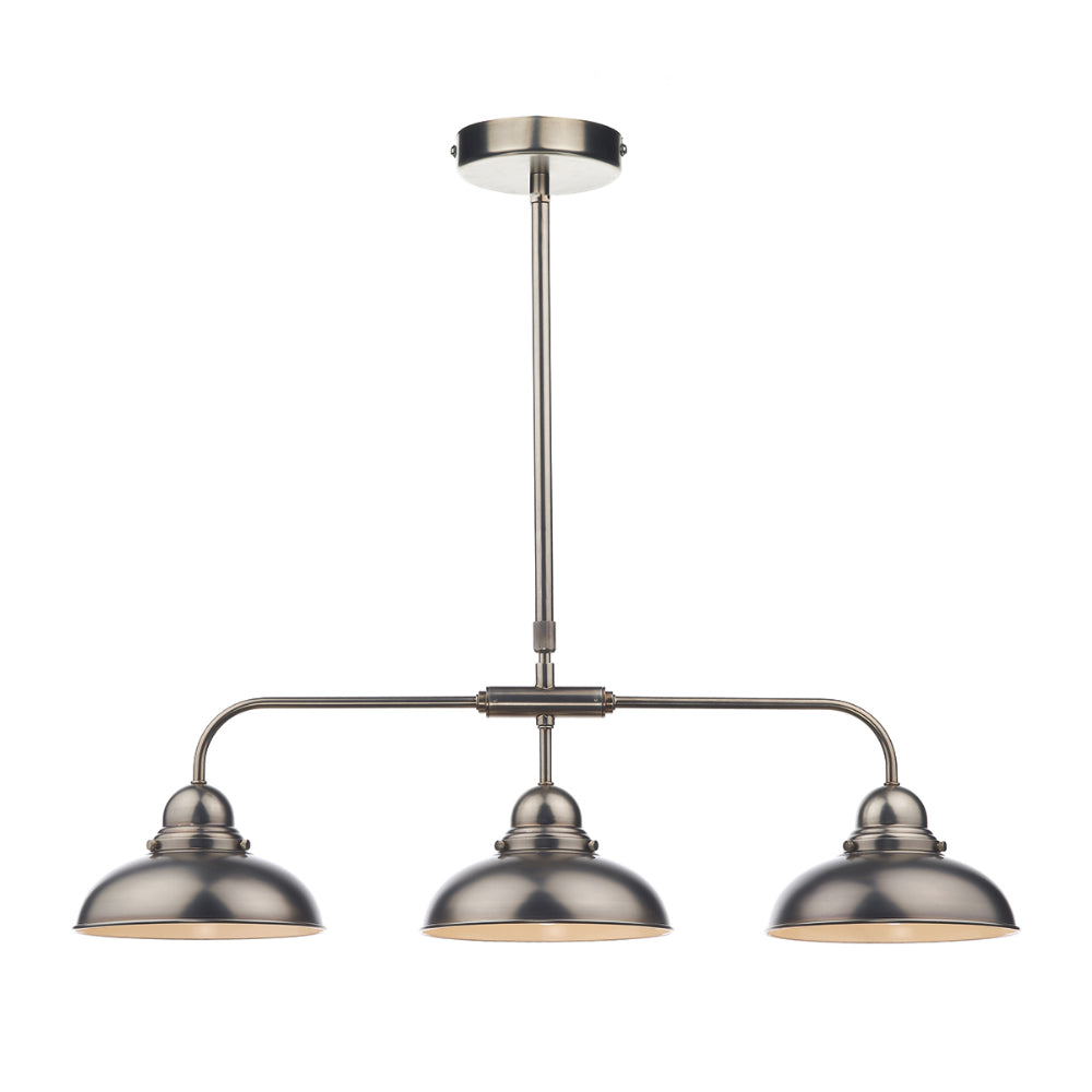 där Lighting DYN0361 Dynamo 3 Light Antique Chrome Bar Pendant Ceiling Light