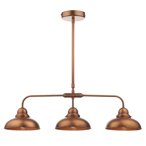 där Lighting DYN0364 Dynamo 3 Light Antique Copper Bar Pendant Ceiling Light