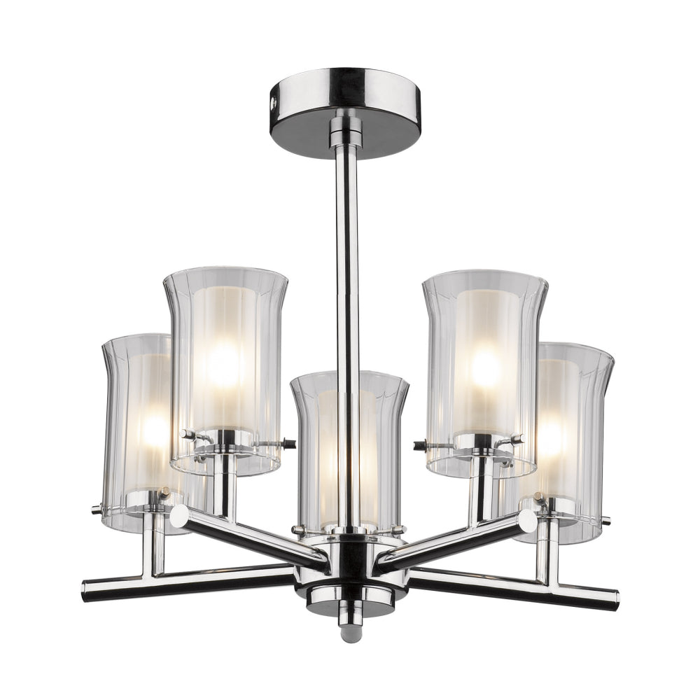 där Lighting ELB0550 Elba 5 Light Polished Chrome Semi-Flush Ceiling Light