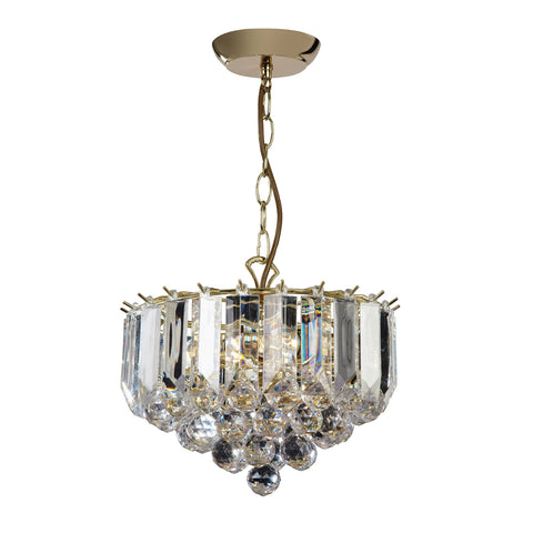 Endon Lighting FARGO-12BP Fargo 3 Light Small Pendant In Brass Effect And Clear Acrylic Finish