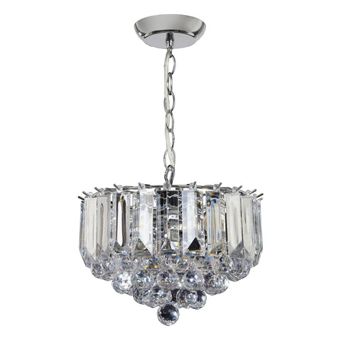 Endon Lighting FARGO-12CH Fargo 3 Light Small Pendant In Chrome And Clear Acrylic Finish