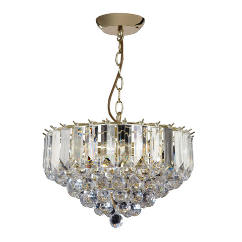 Endon Lighting FARGO-14BP Fargo 3 Light Pendant In Brass Effect And Clear Acrylic Finish