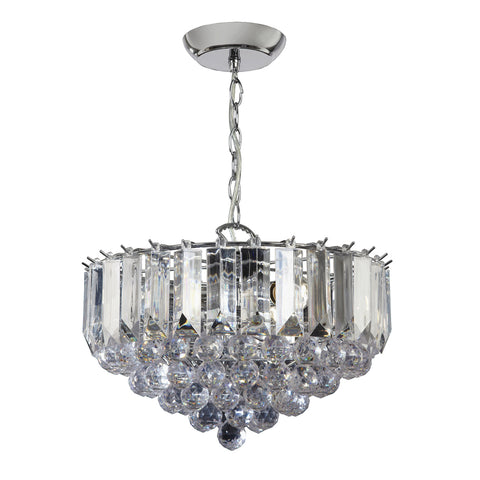Endon Lighting FARGO-14CH Fargo 3 Light Pendant In Chrome And Clear Acrylic Finish