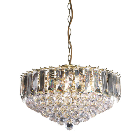 Endon Lighting FARGO-18BP Fargo 6 Light Pendant In Brass Effect And Clear Acrylic Finish