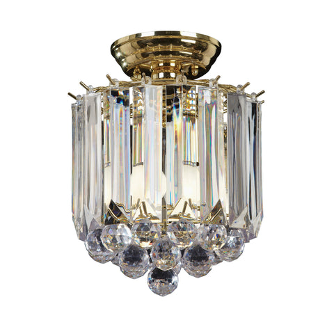 Endon Lighting FARGO-BP Fargo 2 Light Flush In Brass Effect And Clear Acrylic Finish