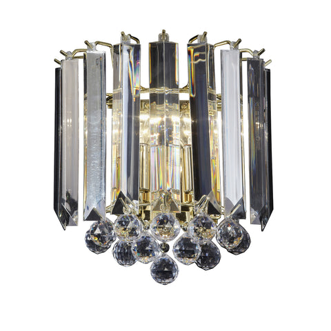 Endon Lighting FARGO-WBBP Fargo 2 Light Wall Light Brass Effect And Clear Acrylic Finish