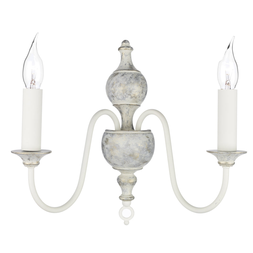 David Hunt Lighting FLE0912 Flemish 2 Light Grey/Gold Wall Light