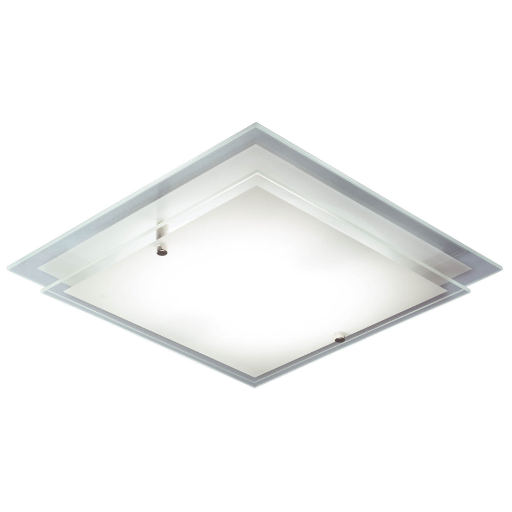 där Lighting FRA472 Frame Single Light Frosted Glass Flush Ceiling Light