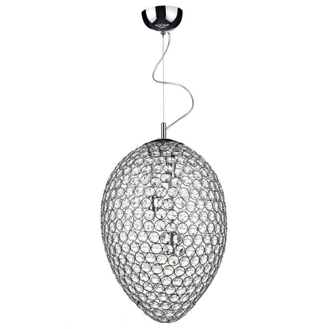 där Lighting FRO0350 Frost 3 Light Polished Chrome Pendant Ceiling Light