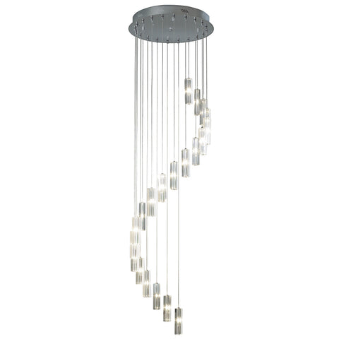 där Lighting GAL3350 Galileo 20 Light Polished Chrome 2m Pendant Ceiling Light