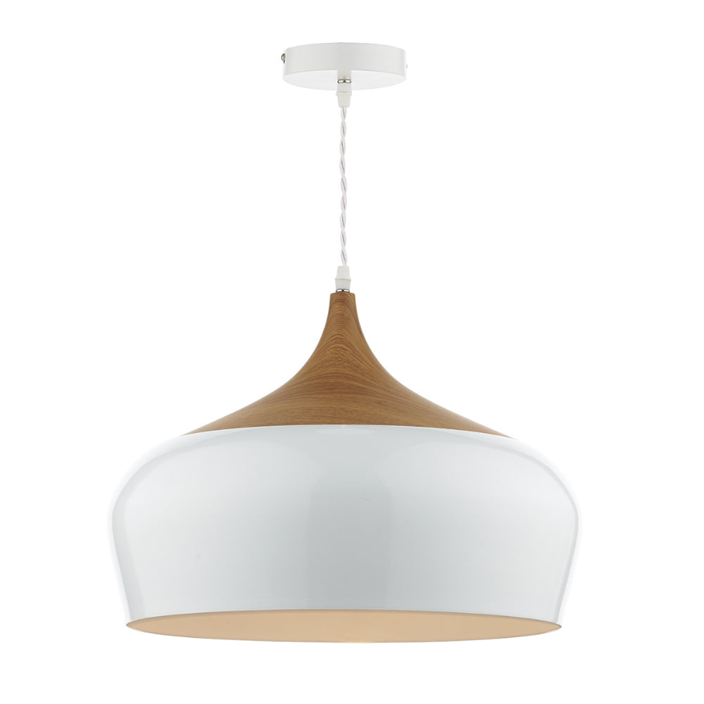 där Lighting GAU8602 Gaucho Single Light White Large Pendant Ceiling Light