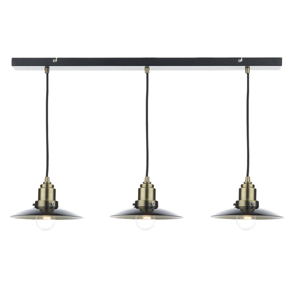 där Lighting HAN0354 Hannover 3 Light Antique Brass & Black Bar Pendant Ceiling Light