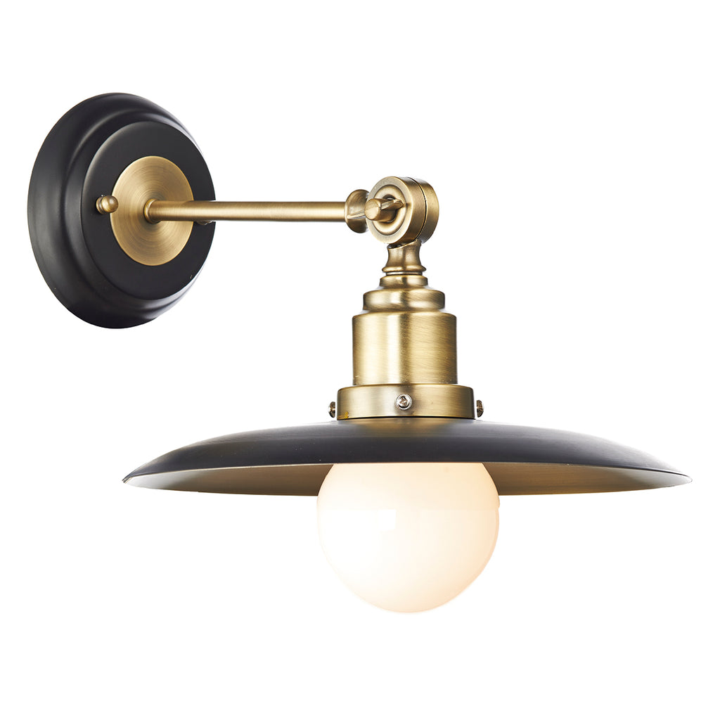 där Lighting HAN0754 Hannover Single Light Antique Brass & Black Wall Light
