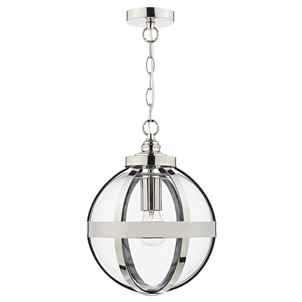 där Lighting HEA0138 Heath Single Light Polished Nickel Pendant Ceiling Light