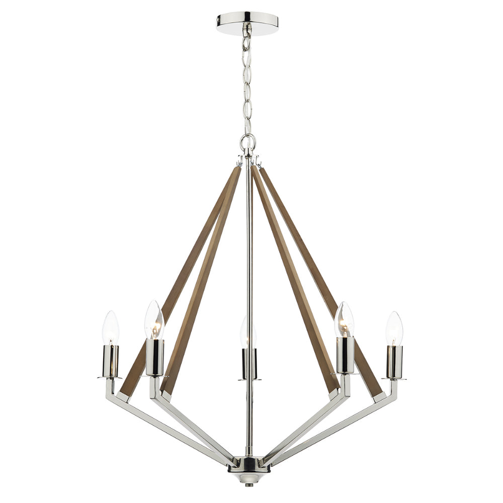 där Lighting HOT0538 Hotel 5 Light Polished Nickel & Wood Dual Mount Ceiling Light