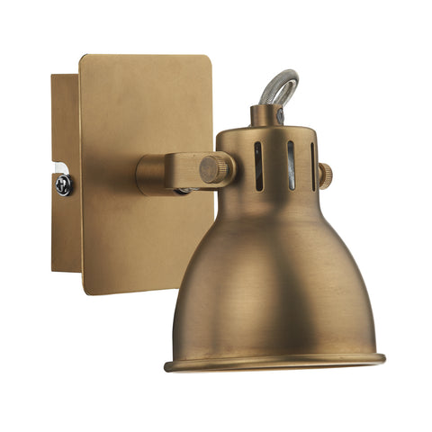 där Lighting IDA0775 Idaho Single Light Natural Brass Switched LED Wall Spotlight