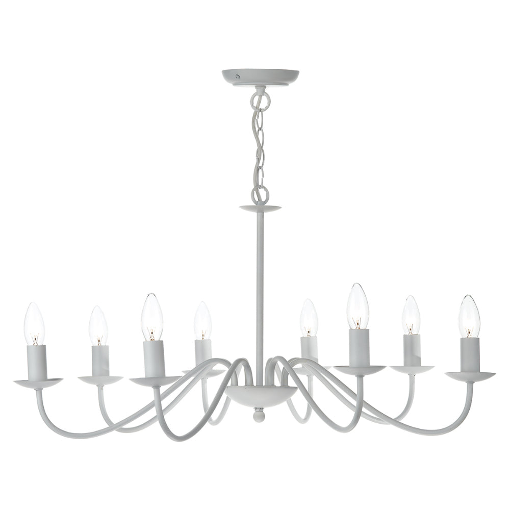 där Lighting IRW0802 Irwin 8 Light Matt White Dual Mount Ceiling Light