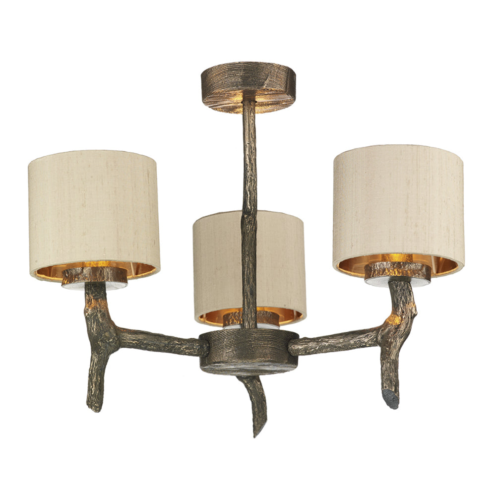 David Hunt JOS0301 Joshua 3 Light Bronze Dual Mount Ceiling Light