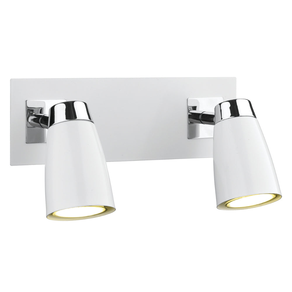 där Lighting LOF772 Loft 2 Light Polished Chrome & White Switched Wall Spotlight