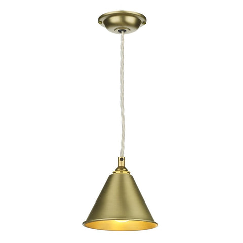 David Hunt Lighting LON0140 London Single Light Pendant in Butter Brass Finish