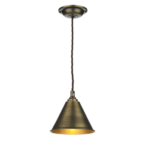 David Hunt Lighting LON0175 London Single Light Pendant in Antique Brass Finish