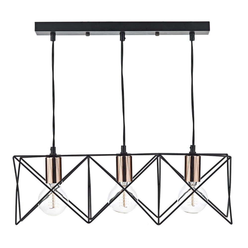 där Lighting MID0322 Midi 3 Light Black & Copper Bar Pendant Ceiling Light
