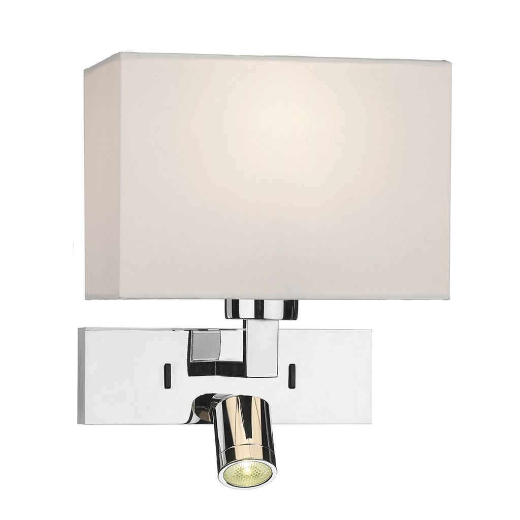 där Lighting MOD7150L Modena Dual Light Polished Chrome Wall Light With LED Reading Light (Bracket Only)