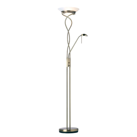 Endon Lighting MONACO-AN Monaco Mother & Child Antique Brass Floor Lamp