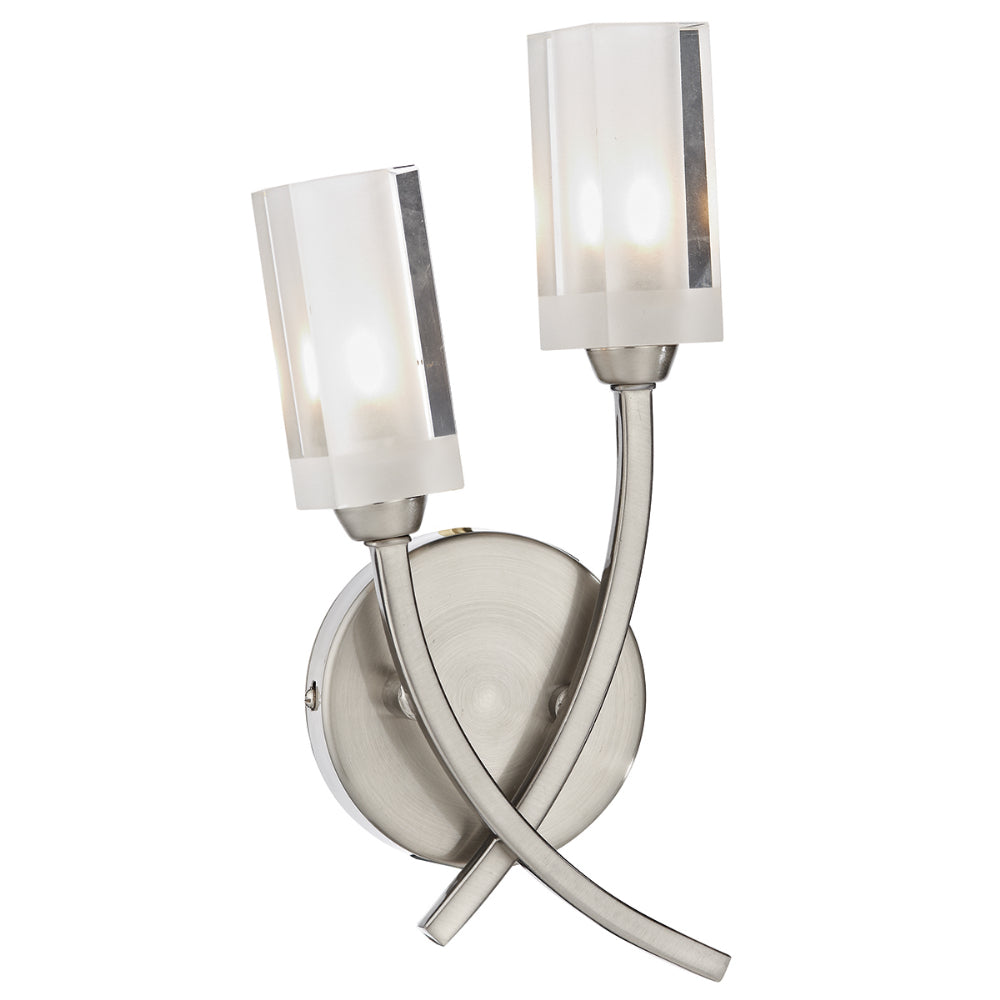 där Lighting MOR0946 Morgan 2 Light Satin Chrome Wall Light