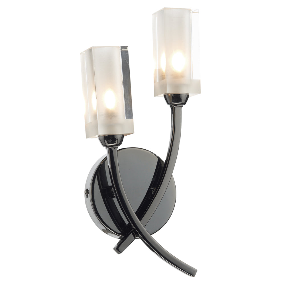 där Lighting MOR0967 Morgan 2 Light Black Chrome Wall Light