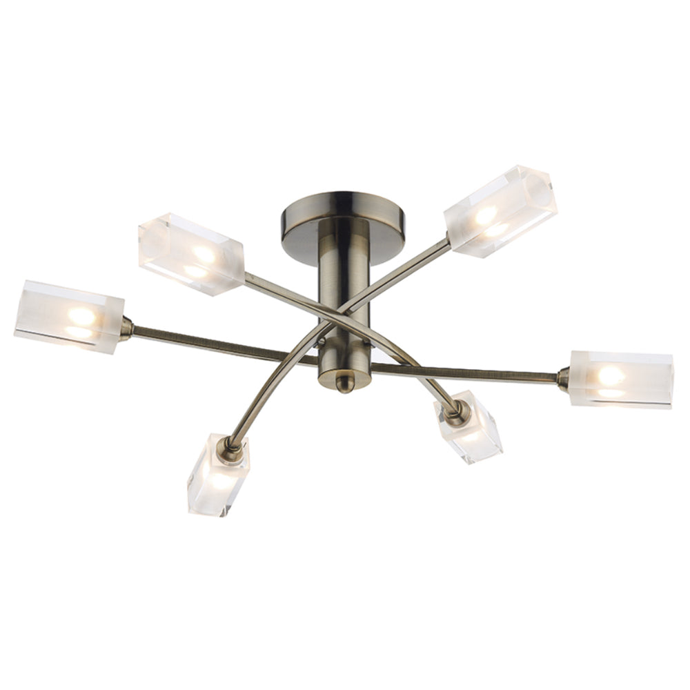 där Lighting MOR6475 Morgan 6 Light Antique Brass Semi-Flush Ceiling Light