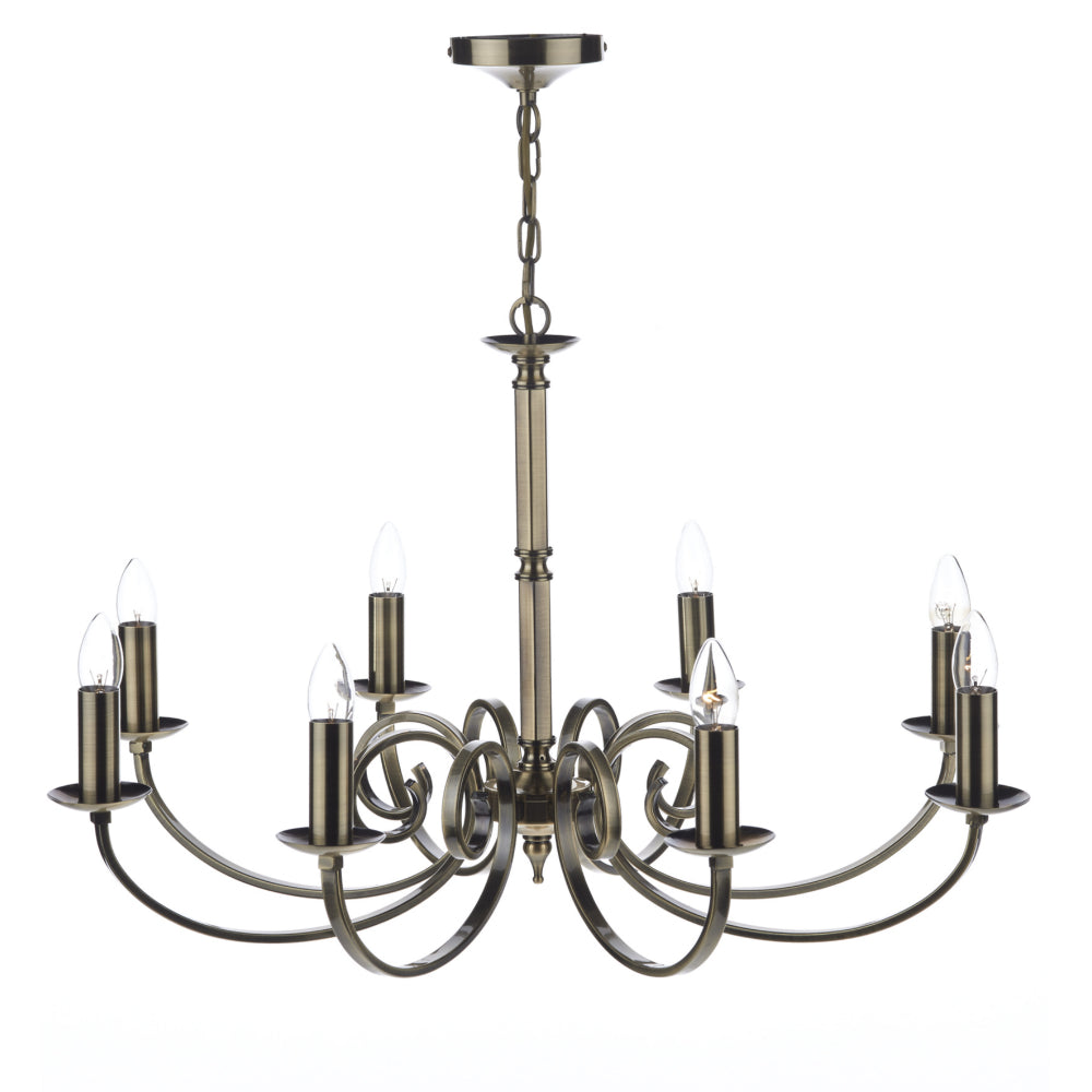 där Lighting MUR0875 Murray 8 Light Antique Brass Dual Mount Ceiling Light