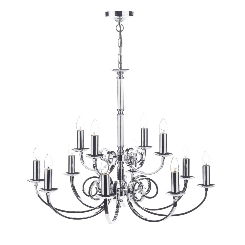 där Lighting MUR1250 Murray 12 Light Polished Chrome Dual Mount Ceiling Light