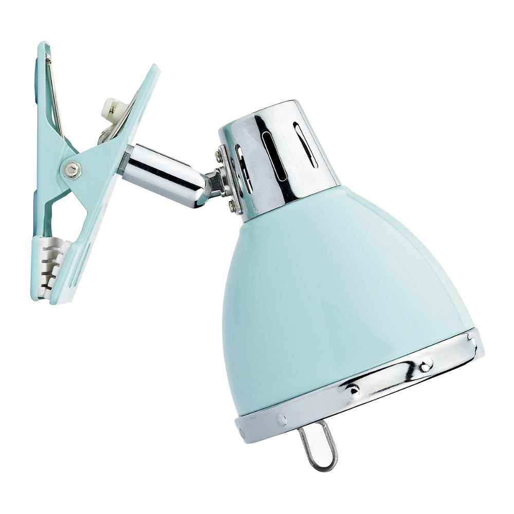 där Lighting OSA4123 Osaka Single Light Gloss Blue & Chrome Clip Spotlight