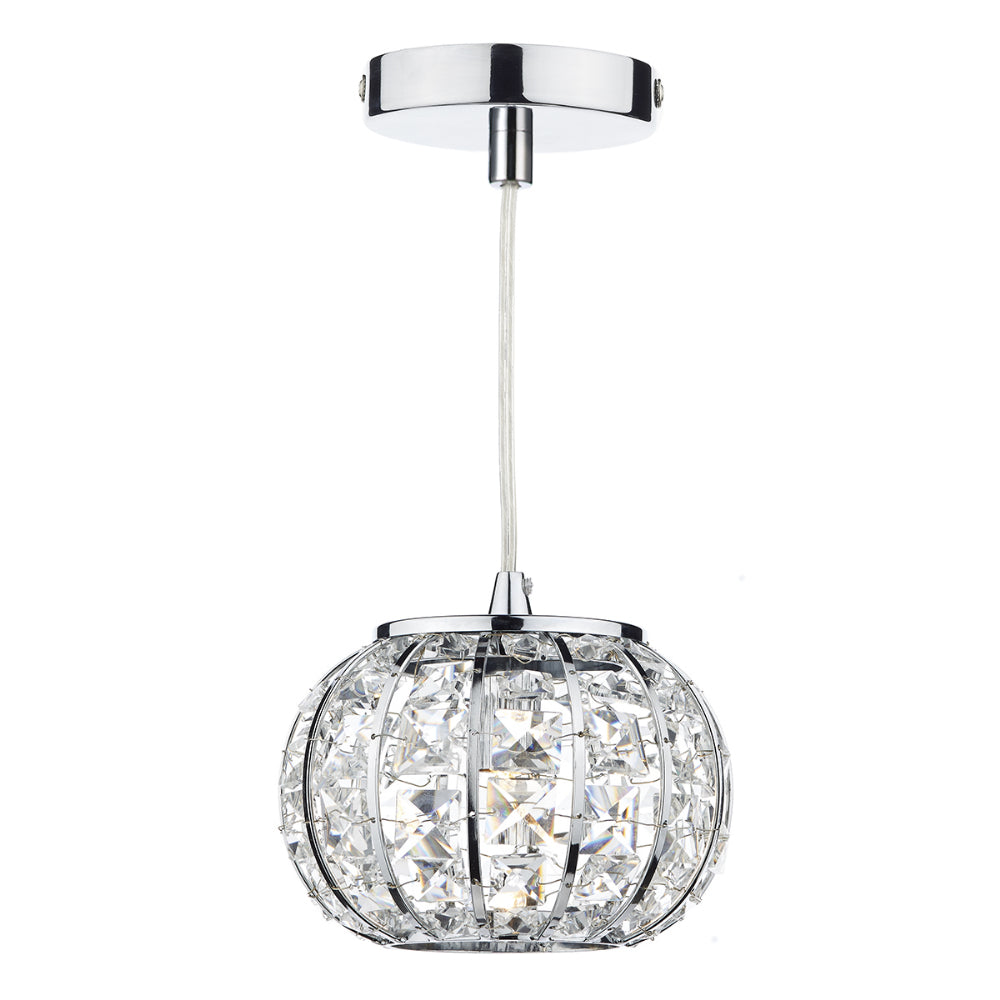 där Lighting RAE0150 Rae Single Light Polished Chrome Pendant Ceiling Light