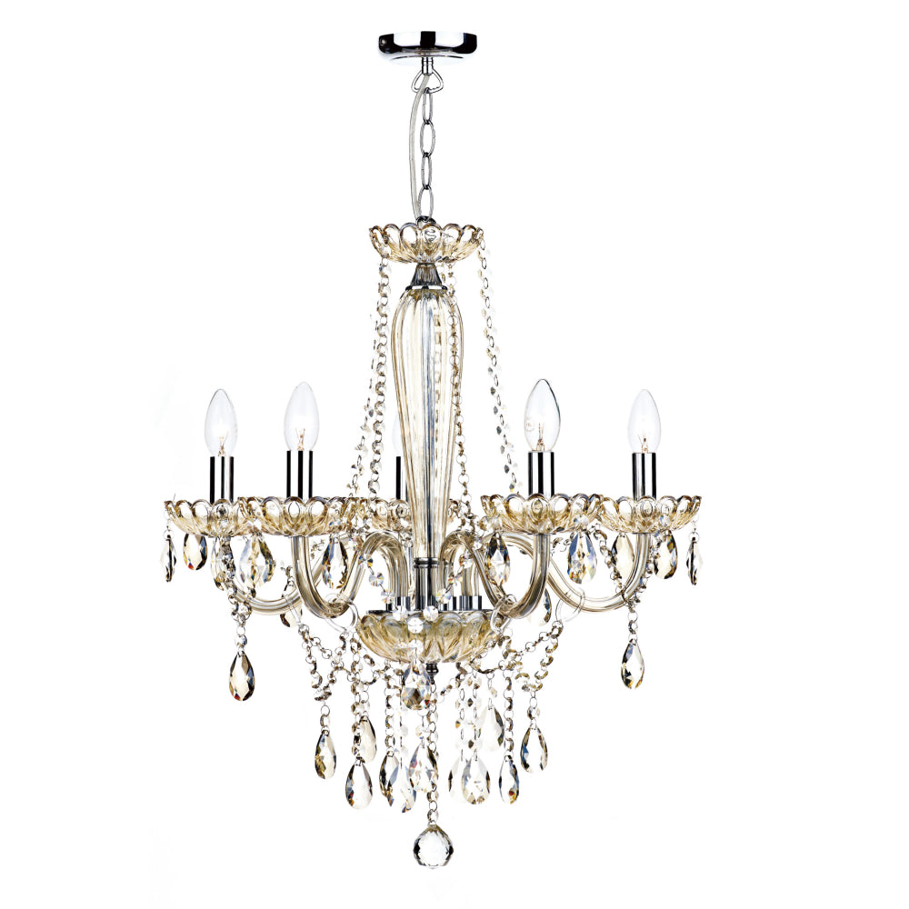 där Lighting RAP0506 Raphael 5 Light Champagne Glass Chandelier